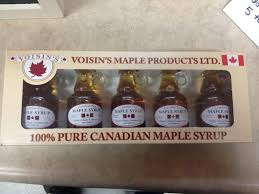 Box of 5 bottles of Voisin's maple syrup