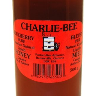 Jar of Charlie-Bee blueberry pure Canadian natural liquid honey