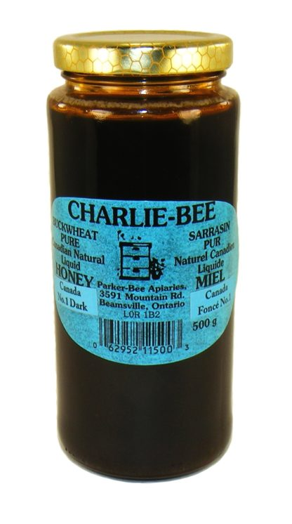 Jar of Charlie-Bee buckwheat pure Canadian natural liquid honey