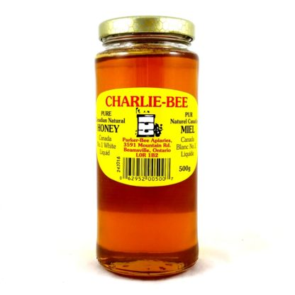 500g Charlie-Bee pure natural honey in a glass jar