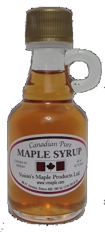 Bottle of Voisin's pure Canadian maple syrup