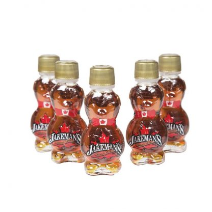 5 mini bear bottles of Jakeman's maple syrup