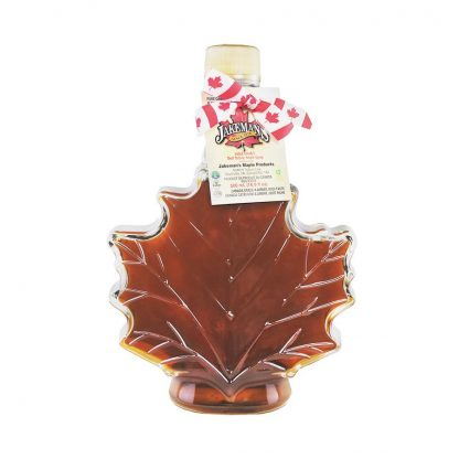 Jakeman's maple syrup in a decorative maple leaf bottle