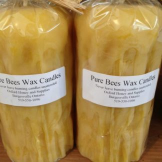 Oxford pure beeswax textured pillar candles wrapped in cellophane